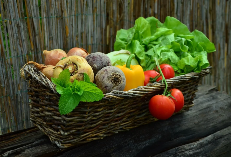 basket with fruits and veggies